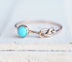 Turquoise Ring, Infinity Ring, Eternity Ring, Rose Gold Ring, Unique Gift…
