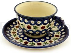 Cup & Saucer (7 oz) - Blue Old Poland