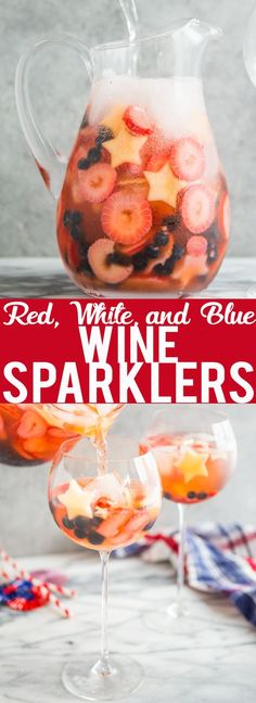 These Red, White, and Blue Wine Sparklers are the perfect festive drink for the Fourth of July. Refreshing and light on alcohol makes for easy drinking on a hot summer day! Blue Drinks, Summer Drinks, Summer Snacks, Mixed Drinks, Summer Recipes, Holiday Recipes, Holiday Meals, Holiday Drinks, Holiday Parties