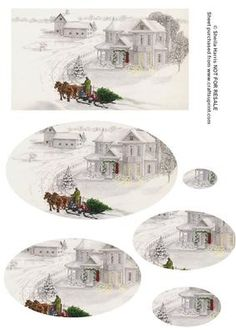 Winter Scene Pyramid sheet on Craftsuprint designed by Sheila Harris - Here is a winter scene 'fetching the tree' in an oval pyramid. - Now available for download!