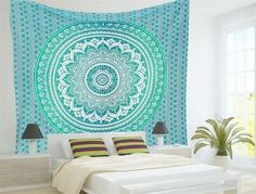 Indian Mandala Rectangle Flower Peacock Tapestry Wall Hanging Bohemia Beach Throw Mat Hippie Bedspread Gypsy Yoga Mat Blanket