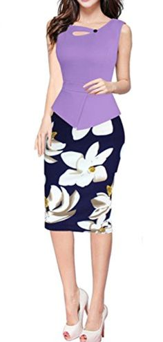 f2d6e45e58b Himone Women s Elegant Sleeveless Wear To Work Party Prom Bodycon Dress  Purple Large
