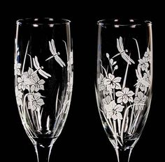 Orchid Wedding Toasting Flutes Etched Glass with by bradgoodell, $45.00