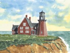 South East Lighthouse, Block Island  Watercolor prints and note cards of over 250 lighthouses all over the USA. Start your collection today. Original paintings by sailor/artist Alfred La Banca, Darien, CT