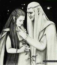Gorgeous new fan art of Thranduil and his wife, the Elvenking and Elvenqueen of Mirkwood. A happy moment between the tragically-fated couple. And in this picture, it looks like she's pregnant with Legolas. Gorgeous artwork!
