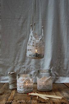 DIY Crochet Candle Holder Tutorial from El Nido de Mama...