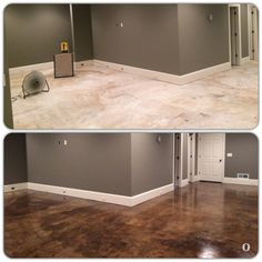 I am sharing these photos because I spent so much time researching options for our basement floor and wish I could have found more before/after photos.   We decided to try  H&C Semi-Transparent Concrete Stain in Expresso.  My dad applied two coats of stain and two coats of the top sealer.  I love the results!
