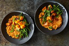 Thai Curry Risotto With Squash and Green Beans Recipe - NYT Cooking Roasted Squash, Roasted Vegetables, Veggies, Squash Vegetable, Vegetable Sides, Green Bean Recipes, Rice Recipes, Asian Recipes, Ethnic Recipes