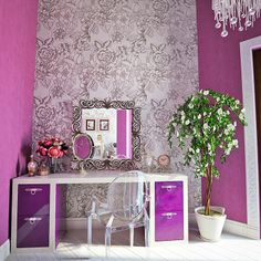 Interior Decor -- Radiant Orchid Walls and Furniture
