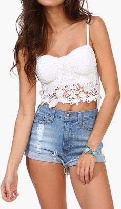 White lace crop top to go with high waisted shorts or a maxi skirt
