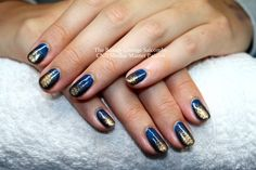 CND Shellac nails in Midnight Swim with Snakeskin effect Gold Pigment.  #cndshellac #nailart #salcombe