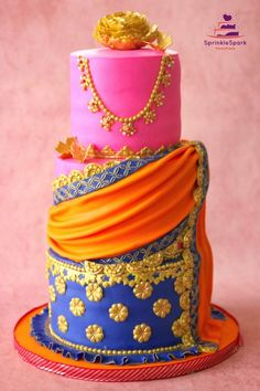 Another version of the Half Saree Ceremony Cake. Mom wanted our previous cake to be remade. Big Cakes, Cute Cakes, Pretty Cakes, Beautiful Cakes, Amazing Cakes, Indian Cake, Indian Wedding Cakes, Indian Party, Bollywood Baby Shower