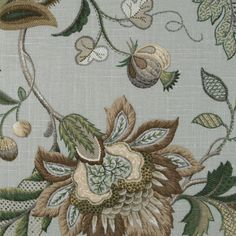 Brissac in Platinum gray/olive green color with floral Jacobean Fabric for roman shades, top treatment, draperies, fabric by the yard and custom window treatments