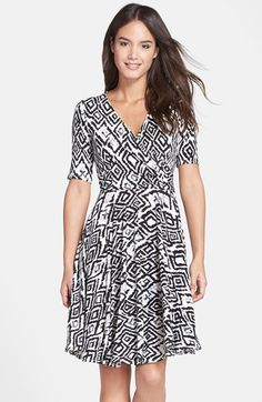 Donna+Morgan+Print+Jersey+Faux+Wrap+Dress+available+at+#Nordstrom