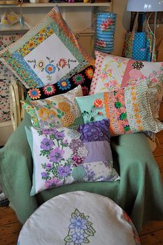 fun pile of colorful pillows