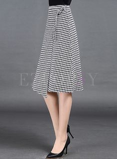 Shop for high quality British Plaid Print Asymmetric Patch A-line Skirt online at cheap prices and discover fashion at Ezpopsy.com