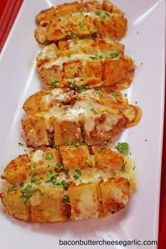 Bacon, Butter, Cheese & Garlic: Scored Potatoes