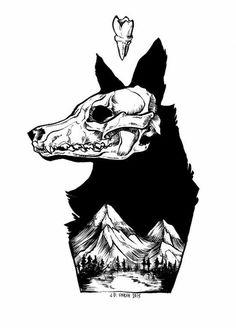 Black Wolf Mountain Art Print by jdunruh - Casper Pohl - Black Wolf Mountain Art Print by jdunruh Black Wolf Mountain Art Print by JD Unruh - Dog Skull, Skull Art, Arte Dope, Dog Skeleton, Mountain Art, Tattoo Mountain, Black Mountain, Dog Tattoos, Dark Art