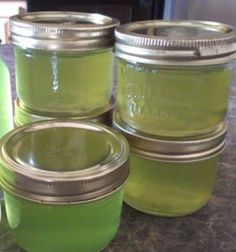 cucumber jelly: Cucumber Jelly - Yield 7 - 8oz jam jars. 3 - 4 big cukes, shredded and ground up with peel on. Strain through cheese cloth or sieve. Don't push too much, or the juice will be cloudy. 2.5 cups of strained cucumber juice (from the step above) 7 cups of sugar 1 cup of white vinegar 2 pouches of Certo Pectin