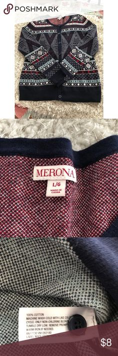 Merona Cardigan Sweater Size Large Button front Cardigan Sweater.  Navy blue with red and white in pattern.  From Merona. Size large.  Good condition.  Important:   All items are freshly laundered as applicable prior to shipping (new items and shoes excluded).  Not all my items are from pet/smoke free homes.  Price is reduced to reflect this!   Thank you for looking! Merona Sweaters Cardigans
