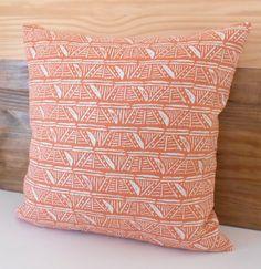 Melon orange coral geometric pattern decorative by pillowflightpdx