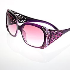 Black Purple Fashion Crystal Sunglasses 5.5 Width 2 1/4 Length Color: Black / Purple Pink Theme: Crystal Occasion: Casual These fashion crystal sunglasses are available in a variety of colors and styl