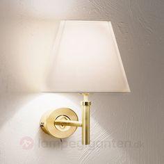 Væglampe Lilly med stofskærm, messing 7254748