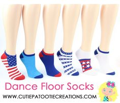 Bar Bat Mitzvah Red, White and Blue America Socks, July 4th American Themed Mitzvah Socks - Great for B'Nai and B'not Mitzvah to! Shop www.cutiepatootiecreations.com