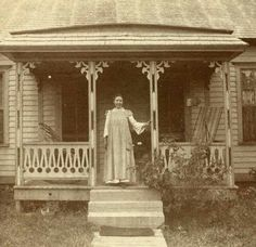 Laura Ingalls Wilder on her front porch. Now that's cool! I loved reading The Little House on the prairie when i was a little girl :)