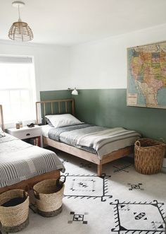 Shared Boys Rooms, Shared Bedrooms, Kids Rooms, Modern Boys Rooms, Boy And Girl Shared Bedroom, Kids Bedroom Boys, Modern Kids Bedroom, Toddler Rooms, Simple Wood Bed Frame