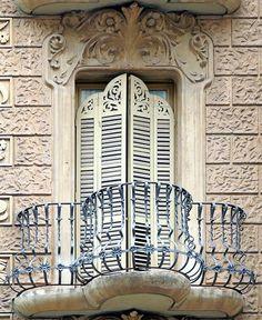Barcelona Casa Sala via Annette Elya Beautiful Architecture, Architecture Details, Balcon Juliette, Balcony Window, Iron Balcony, Railing Design, Breezeway, Balcony Design, Through The Window