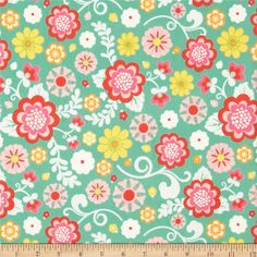 Riley Blake Fancy Free Flannel Large Floral Teal from @fabricdotcom  Designed by Lori Whitlock for Riley Blake, this single-napped (brushed on face side only) cotton flannel is perfect for quilting, apparel and home decor accents.  Colors include red, yellow, orange, white, aqua, teal and shades of pink.