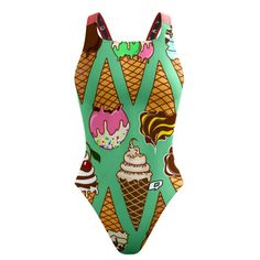 "I-Scream Ice-Cream Classic Strap. My ice-cream brings all the swimmers to the pool, and they're like ""wow you're totally cool"". #qswimwear #swimsuit"