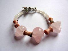 Rose quartz skull bracelet by sueavery on Etsy, £8.00