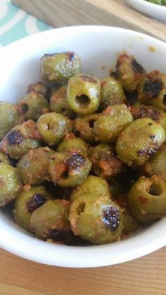 Blistered Olives   Mary Truncale   Copy Me That Red Chili, Chili Oil, Fresh Garlic, Green Olive Appetizers, Olive Recipes Appetizers, Finger Food Appetizers, Yummy Appetizers, Appetizer Dips, Appetizers For Party