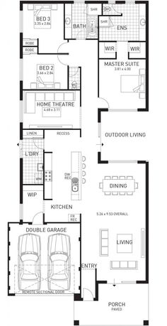 Seems like a lot of wasted opportunies of space. I eould make some changes. Cottesloe Beach, Single Storey Home Design Master Floor Plan, WA House Layout Plans, New House Plans, Dream House Plans, Small House Plans, House Layouts, House Floor Plans, Single Storey House Plans, Rectangle House Plans, Floor Plans 2 Story