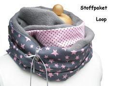 DIY Stoffpaket Loopschal Fleece DIY Loop Sterne von creartica auf DaWanda.com