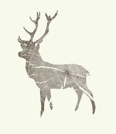 design print deer Wood Stag woodgrain