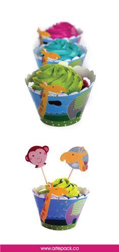 Decora tus cupcakes infantiles con nuestros wraps de animalitos. http://artepack.co/categoria-producto/wraps/