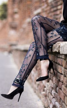 Reiss Black Jewelled Embroidered Sheer Trousers by Anouska Proetta Brandon