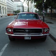 This is a ridiculously hot red 1968 Ford Mustang Fastback spotted in mint condition in Budapest. Ford Shelby, Ford Gt, 1968 Ford Mustang Fastback, Firebird, Corvette, Budapest, Classic Cars, Bike, American