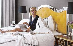 rope detail hotel duvet, gray, white, and black, and that fabulous yellow mirrored headboard.  sasha adler