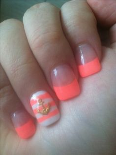 Fluorescent pink tips, with nautical striped accent nail with small gold anchor!