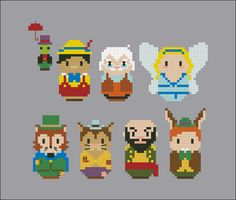 This is a parody, an inspirational cross stitch pattern of the cartoon Pinocchio, featuring Jiminy Cricket, Pinocchio, Geppetto, the Blue fairy, J. Worthington Foulfellow and Gideon, Stromboli and Lampwick PATTERN DETAILS: Stitches: 76x67 Size (with 14 count Aida fabric): 14x12 cm With purchase, youll receive a download link with: A PDF color and symbols pattern A Symbol Key page in DMC / Anchor floss code…