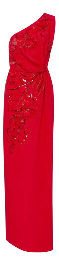 Emilio Pucci's gown is rendered in the purest silk and is embroidered with shimmering sequined floral embellishments. Black White Red, Emilio Pucci, Runway, Gowns, Formal Dresses, Designer Clothing, Fashion Design, Cocktail Dresses, Collection