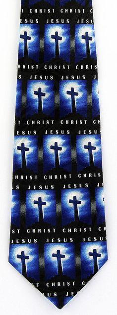 Christ Jesus Mens Necktie Religious Christian Blue Black Cross Gift Tie New C #StevenHarris #NeckTie