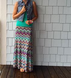 LuLaRoe Maxi Skirt in chevron print. Pretty! | Shop LLR Meg Lularoe Maxi Skirt