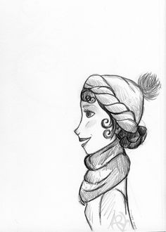 Quick sketch of a winter weather girl.  Copyright Amalia Hillmann