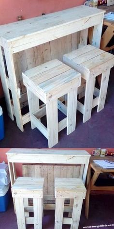 Pallets Old Outstanding Wooden Pallet Bar Ideas Outdoor Pallet Projects, Pallet Crafts, Pallet Ideas, Wood Projects, Outdoor Pallet Bar, Wooden Pallet Bar, Wooden Pallet Furniture, Diy Furniture, Pallet Bar Stools