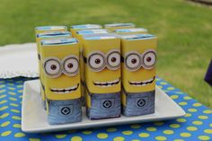 Despicable Me Minions birthday party juice boxes! See more party ideas at CatchMyParty.com!